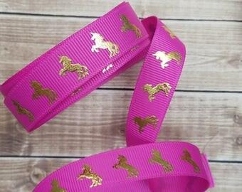 5/8 inch GARDEN ROSE UNICORN grosgrain ribbon