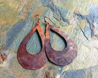 Copper earrings rustic earrings boho earrings earthy earrings gypsy earrings