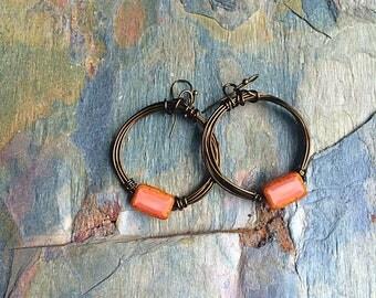 Hoop earrings wire earrings czech glass earrings pink earrings rustic earrings earthy earrings
