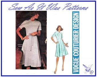 1970s FF Unused Vogue Couturier Design 1170 Belinda Bellville Paneled Flared Dress High Neckline Vintage Sewing Pattern Size 14 Bust 36 92cm