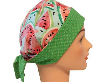 Medical Hat Surgical Scrub Cap Chemo Vet Nurse Dr Hat Front Fold Pixie Style Watermelon Pink Green 2nd Item Ships FREE