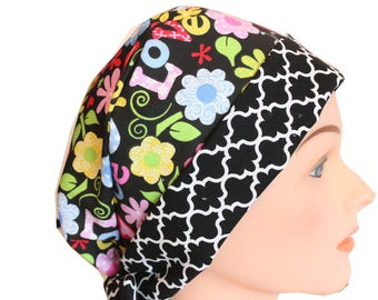 Medical Hat Surgical Scrub Cap Chemo Vet Nurse Dr Hat Front Fold Pixie Style BoHo Peace Love and Flowers   2nd Item Ships FREE
