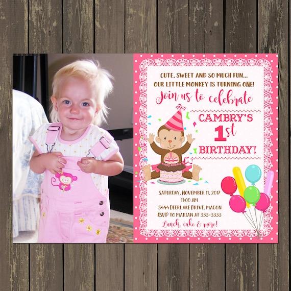 Monkey girl birthday invitation girls 1st monkey birthday party il570xn filmwisefo