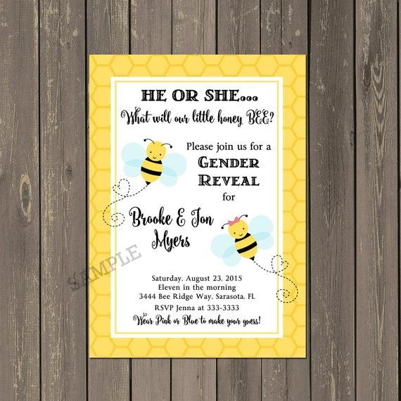 Bee Baby Shower Invitation Bumblebee Gender Reveal Shower