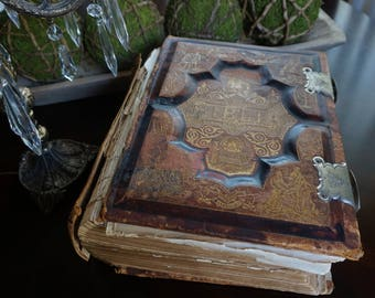 Antique, Large Leather Bound  1890 German Bible