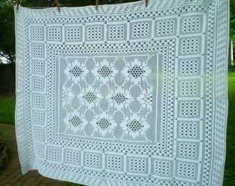 Vintage White Hand Crocheted Table Cloth  Small White Crocheted Tablecloth   Table Cover