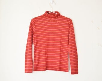 red striped sheer turtleneck knit sweater top 90s // S-M