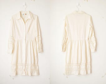 ivory white gunne sax button down linen dress with lace 70s // S-M