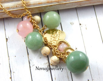 Green Jade And Rose Quartz Necklace,Cluster Necklace,Gold Cluster Necklace,Long Necklace,Gemstone Jewelry,Layering Necklace