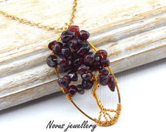 Garnet Tree Of Life Pendant Wire Wrapped Tree Of Life Necklace Garnet Gemstone Necklace