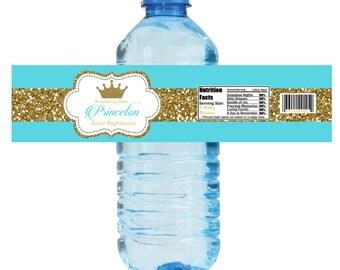 Glitter Crown Water Bottle Label, Royal Prince Bottle Labels - Digital File