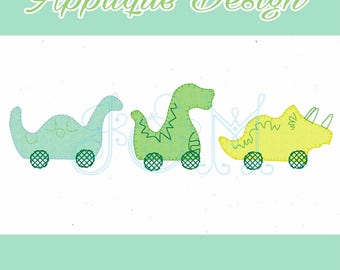 Dinosaur Toy Trio Vintage Applique Machine Embroidery Design 5x7