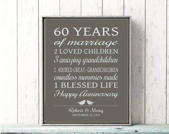 60th Anniversary Gift 60 Years Married Or Any Year Gift For