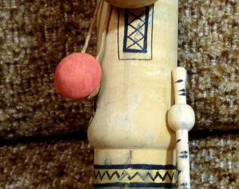 Doll vintage wooden toy. Russia, USSR