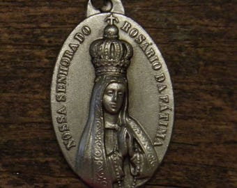 antique silvered religious medal pendant our lady of Fatima