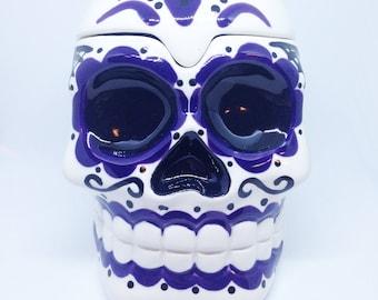 Large Purple Sugar Skull Box handmade hand made OHIO USA tattoo ceramic pottery