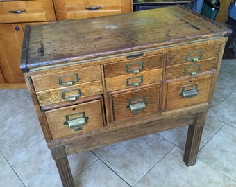 Antique Architectural Salvage 9 Drawer Quartersawn Oak Card File Library Cabinet