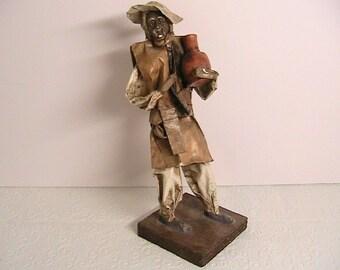Paper Mache Figure Art of Old Man Holding Pot