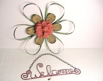 Metal Yard Art, Metal Wire Flower and Welcome Sign, Fence Decor, Metal Garden Decor