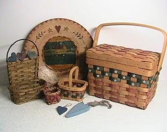 Americana Decor, Primitive Americana Basket, Friendship Plate, Little Baskets