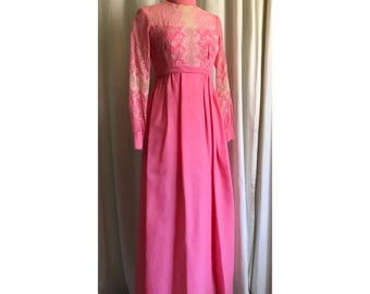 1960s Pink Embroidered Dress // maxi dress // floor length long sleeve gown