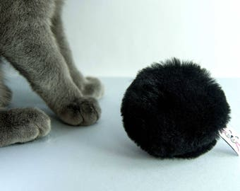 Flingin' Biscuit Cat Toy, Cat Fetch Toy, Chase Toy, Unique Organic Catnip Toy, Black Sheepskin