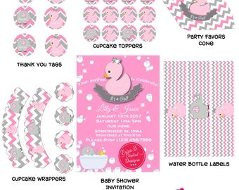 Baby Ducky Pink Baby Shower Digital Printable Party Kit Invitation,Cupcake toppers, wrappers,gift tags snack cone, bottle water labels
