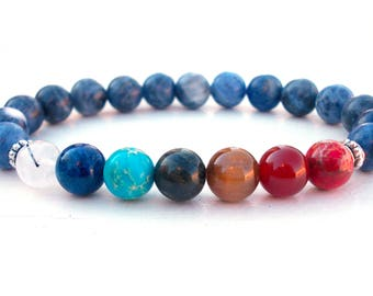 Sodalite Chakra bracelet, 7 Chakra bracelet, Yoga bracelet, Chakra bracelet, Gemstone bracelet, Sodalite bracelet, Meditation bracelet