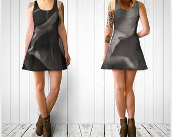 Flare Dress, Skater Dress, Teen Clothing, Gothic dress, Reversible dress, Flower Flare Dress, Floral Skater Dress, Spandex Mini Dress