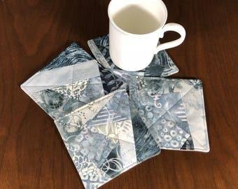Gray Batik Coasters, Set of 4 Beverage Coasters, Crazy Quilt Coasters, Wine Glass Coaster Set, Fabric Coasters,  Four Handmade Mug Rugs