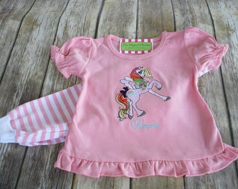 Girl Pony Pajamas-Personalized Girls Pajamas-Pony Birthday PJS,Girls Pajamas-Girl Birthday Pajamas-Cowgirl Shirt, Pony Shirt, Unicorn Shirt