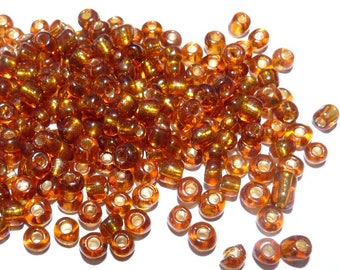 set of Brown beads iridescent glass beads jewelry necklace making amber bronze