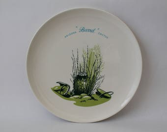 "Vintage 1950s Arizona Cactus Dinnerware ""Barrel"" 10"" Dinner Plate"