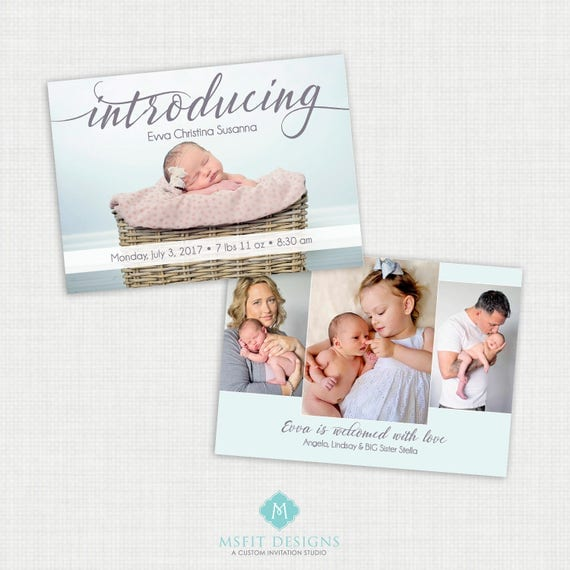 Baby Birth Announcement - Printable Annoucement Cards - Birth Announcement - 5x7 Double Sided Digital FIle
