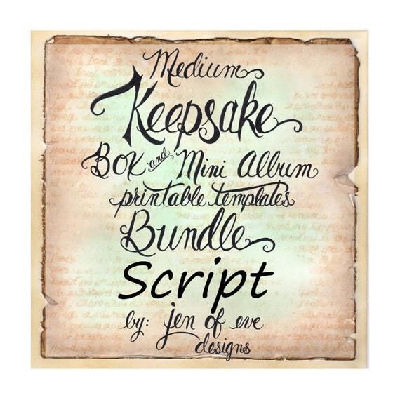 MEDIUM Keepsake Box & Mini Album Printable Template in Script and Plain