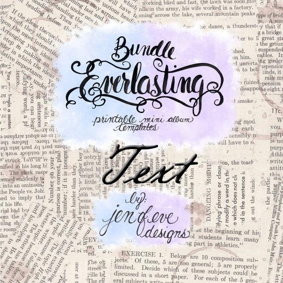 Everlasting & Mini Everlasting Printable Mini album Template Bundle in Text and PLAIN