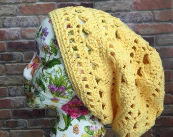 Boho yellow beanie