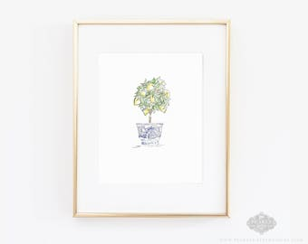 Lemon Art Print, Lemon Tree, Botanical Print, Lemon Print, Lemon Watercolor, Lemon Painting, home decor, wall art