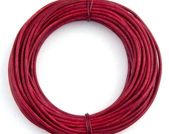 Pink Hot Natural Dye  Round Leather Cord 1mm 25 meters (27.34 yards)