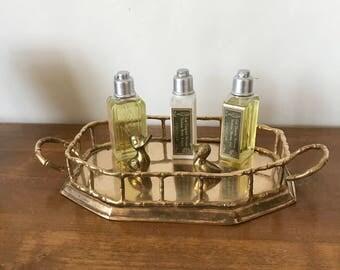 Vintage Small Octagonal Brass Faux Bamboo Tray, Vanity Tray, Hollywood Regency, Perfume Tray, Glam, Accent Tray, 70s, Decorative Tray