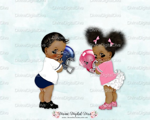 Vintage Baby Football Players Blue Pink Dark Tone Boy Girl
