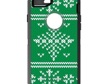 Custom OtterBox Defender Case for Apple iPhone 6 6S 7 8 PLUS X 10 - Monogram - Green White Ugly Christmas Sweater - Gift for Mom