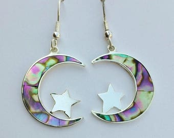 Vintage Earrings, Crescent Moon and Stars, Dainty & Feminine, Romantic Jewellery, Night Sky, Handmade in Mexico, Abalone shell, 1980s