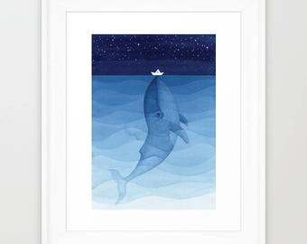 Blue whale print giclee wall hanging nautical art wall decor painting watercolor nursery kids illustration sea creature