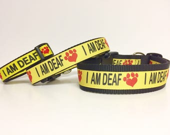 "I AM DEAF Dog Collar or Leash 1"" or 3/4"" width - Special Needs - Dog - Deaf - Awareness - Caution - Bright - Impaired - Yellow - Safety"
