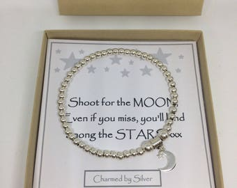 Sterling Silver Moon & Star Charm stretch bead Bracelet - a perfect gift - Shoot for the Moon message