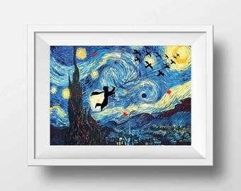 Little Prince Starry Night art print, Nursery little prince poster print