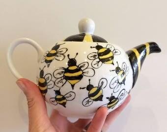 Tetera Abejas, Tea time, Té de las 5, Desayuno con abejas, Teapot, Teapot with bees, Tetera amarilla, Té de las 5, Abejas, Bees