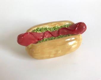 hot dog all dressed ceramic bank