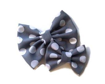 Gray with White Polka Dots Bow | Fabric Bow | Handmade Hair Bow | Hair Clip | Headband